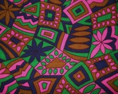 RESERVED FOR KAREN  1960s..Psychedelic Abstract Fabric...2 3/4 Yards...Pink,Green, Navy Blue and Brown