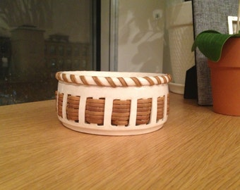 SALE - Vintage Nancy Zager Ceramic and Woven Cane Bowl
