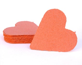 Coral hearts, handmade paper, recycled, deckle edge, set of 10