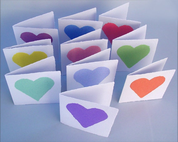 Folded heart cards, handmade paper, recycled, deckle edge, folded 4x4 inch, set of 10