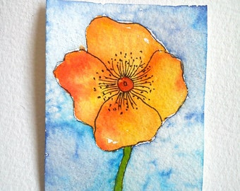 ORIGINAL aceo, watercolor aceo, aceo flower, floral aceo, artist trading card, atc original, aceo painting, hand painted aceo,hand made aceo