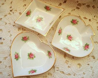 Vintage Ashtrays Royal Stuart Bridge Poker Personal Ash Trays Set of 3 Spade Diamond Heart Bone China Pink Roses