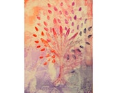 Colorful tree, original abstract watercolor painting, home decor