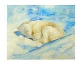 Sleeping polar bear watercolor painting, original painting, animal illustration, home decor