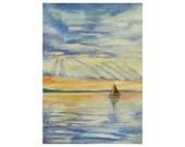 Original watercolor landscape Boat on the lake