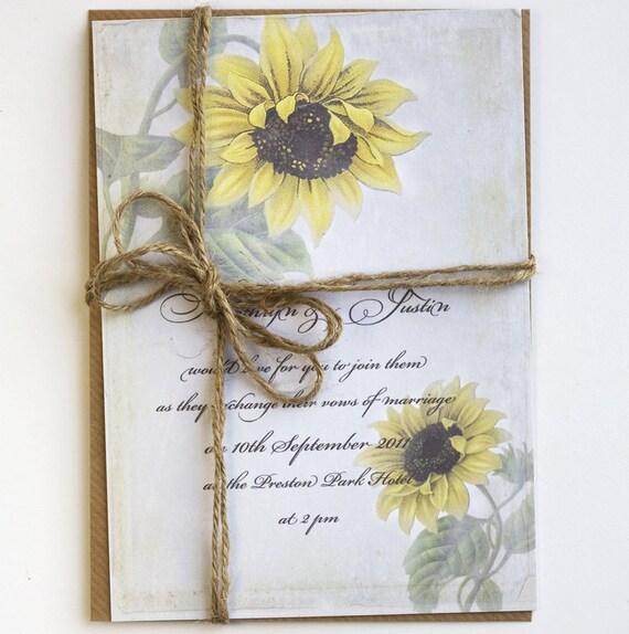 Items Similar To Rustic Sunflower Wedding Invitations