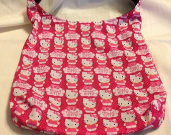 Hello Kitty Pretty in Pink Polka Dots and Cupcake fluff Hobo REVERSIBLE CrossBody Bag / purse