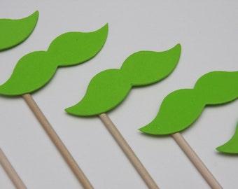 STACHE STICKS Lime Green (Set of 7 hand cut stache sticks)