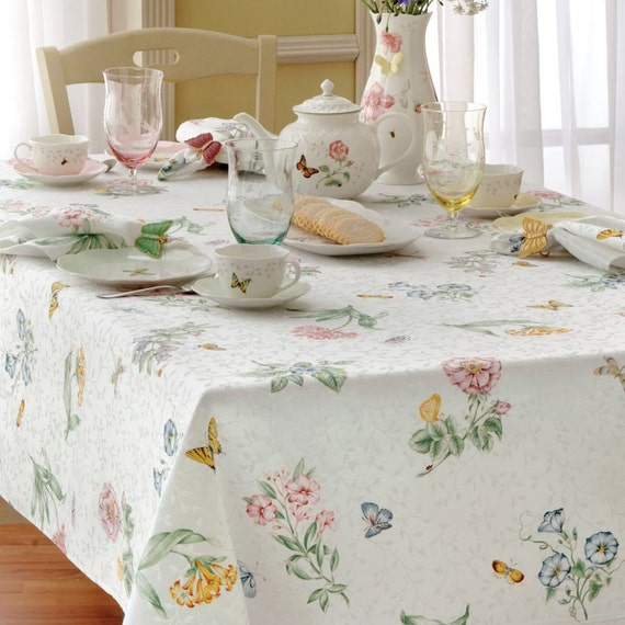 Vintage Lenox Butterfly Meadow 70 Inch Round Tablecloth