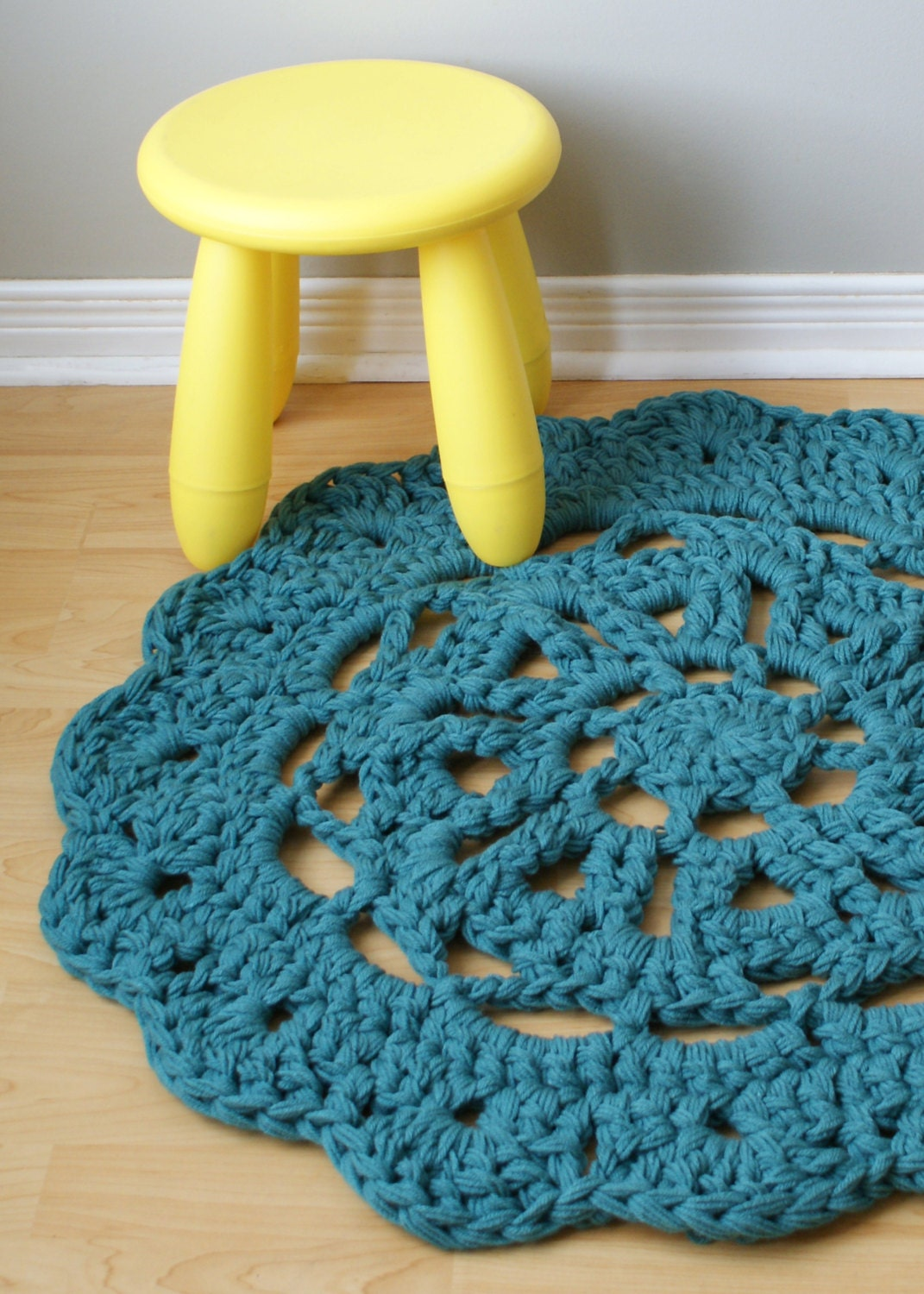 DIY Crochet PATTERN Throw Blanket / Rug Super Chunky Doily 8