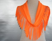 T-Shirt scarf with fringe in Neon Orange