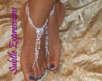 Beach Wedding Barefoot Sandals Foot Jewelry Destination Wedding Rhinestone Anklet Barefoot Sandals