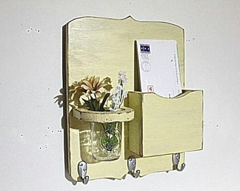 Mail organizer, shabby chic, floral vase, mail holder, key hooks, mail holder, wood, distressed, vintage, home decor,painted Earthly Yellow