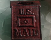 Treasury Item - WAY COOL Antique Cast Iron Red Post Office Mail Box Coin Bank - andersonhs