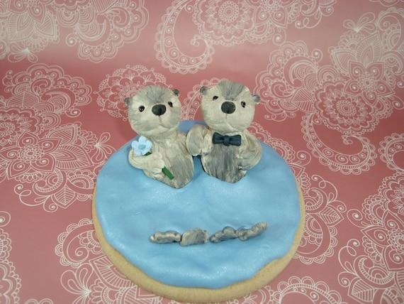 Customized Sea Otter Wedding Cake Topper
