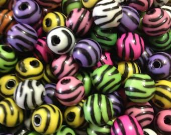 WHOLESALE Zebra Striped Beads 11mm, 500 pcs Zebra Print Acrylic beads Basketball Wives Mixed Colors 500pcs