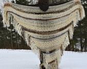 All natural knit wool, mohair, alpaca shawl with hand spun yarn