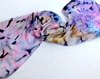 Silk Scarf, Purple, Hand Painted, Lavender, Turquoise, Pink, Gold, Blue