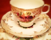 China Trio - Teacup, Saucer and Side plate (Roses and Gold Garland pattern)