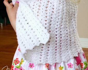 Flower Girl Cape / First Communion Cape / White Crocheted Cape for Girls / Handmade Poncho / Baptism Cape / Baby Shower Gift