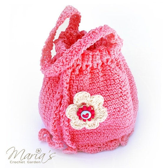 Crochet Bag For Girl : Drawstring Crochet Bag / Flower Girl Purse / Pouch / Sachet for Girls ...