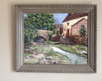 oricinal painting of country home, painting of manor home by a quiet stream