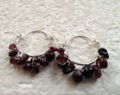 Garnet Earrings Silver Hoops Frida Kahlo