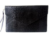 Envelope Leather Clutch in Croco Black