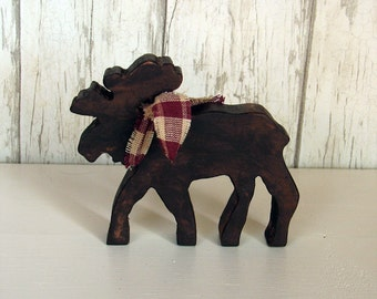 Rustic Wood Small Moose - Brown Primitive Lodge Moose