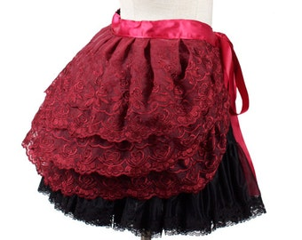 Steampunk Lolita Tie Around Bustle Skirt - Burgundy Lace