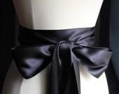 Black Ribbon Bridal Sash, Wedding Sash, Bridesmaid Belt