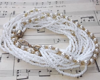 SUMMER SALE Beautiful Vintage multistrand Necklace with White Faux Pearls and Seed Beads
