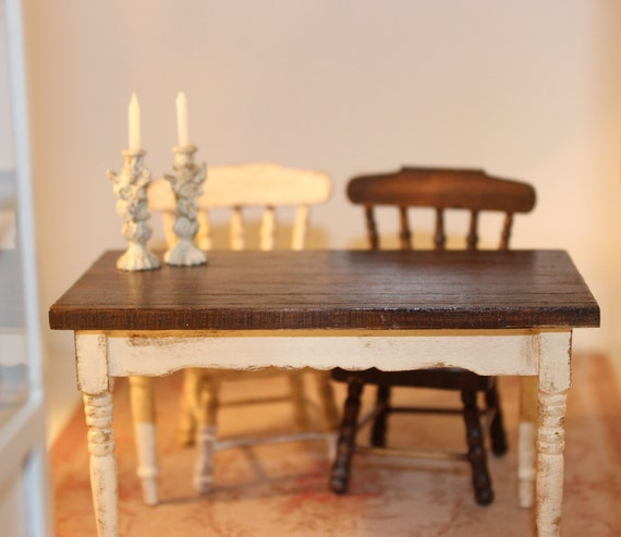 Rustique Kitchen Table Dollhouse Miniatures By Petitbrocanteminis