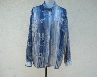 Vintage Blue Blouse Sheer Womans Top, Shirt,Blouse, Clothes