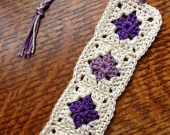Purple and Cream Granny Square Bookmark
