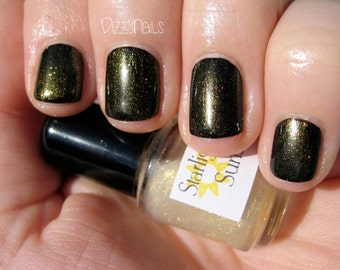 Sunshine Gold Shimmer Top Coat Custom Nail Polish 15mL