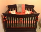 Coral and Gray Crib Set-Several ordering options listed in the description