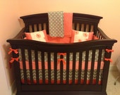 Coral and Gray Crib Set-Several ordering options listed in the description-:3-4 week shipping time