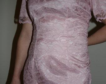 Vintage Pale Pink Lace Dress