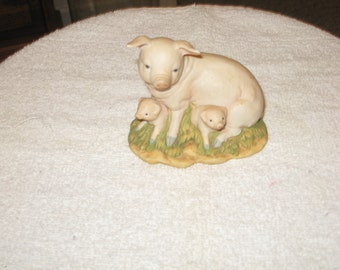 Collectible Ceramic Baby Pigs With Mother