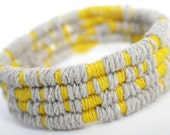Yellow & Grey Linen Coil / Thread Wrap Bangle