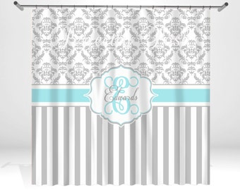 grey and turquoise shower curtain. Aqua and Gray Damask Personalized Custom Shower Curtain Monogram with Name  or Initials perfect for any shower curtain Etsy