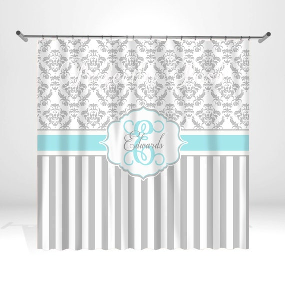 Personalized Aqua And Gray Damask Shower By ItsPerfectlyPosh