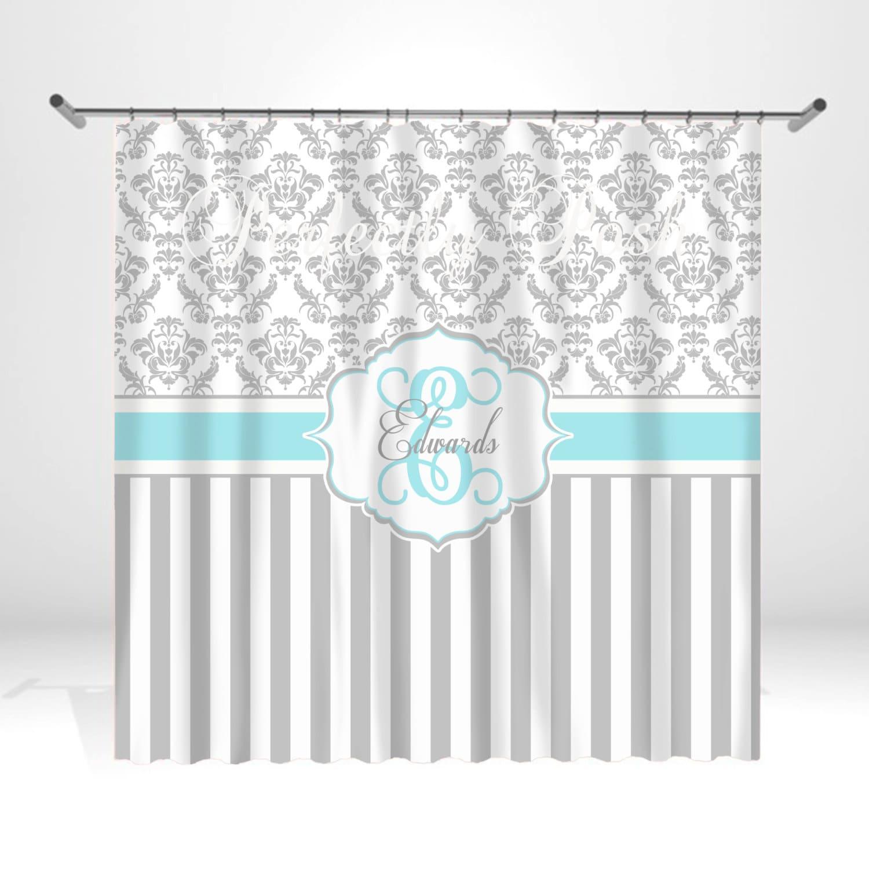 Aqua And Gray Damask Personalized Custom Shower Curtain