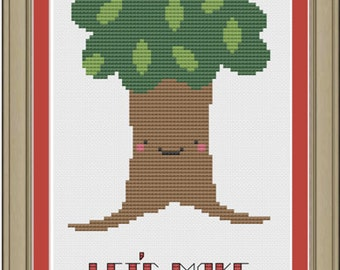 Let's make like a tree and leave: funny cross-stitch pattern