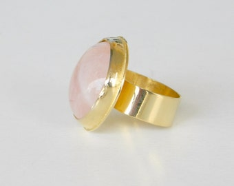 Rose quartz gold ring, pink cocktail ring, rose quartz ring, gold plated sterling silver ring, bridesmaid gift.