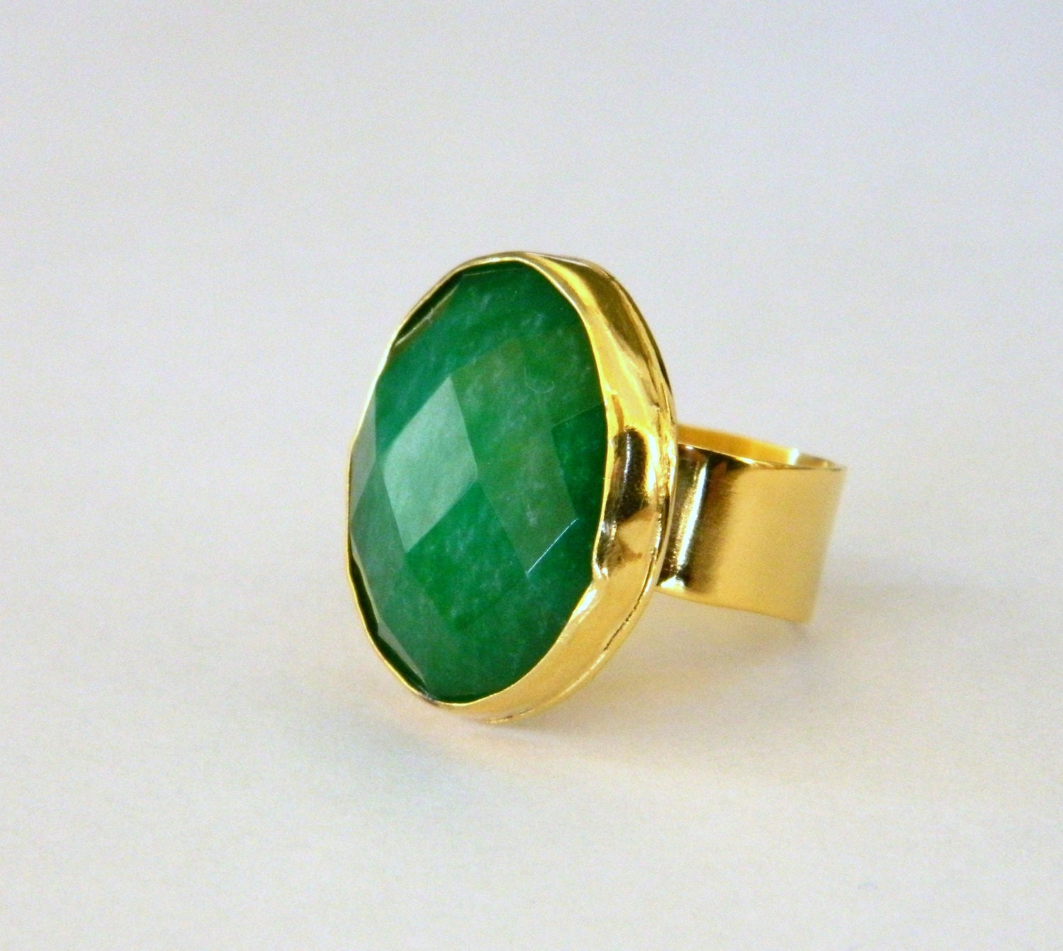 green ring cocktail ring emerald green cocktail gold ring