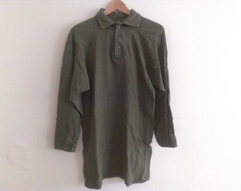 60s vintage women's small army nightgown green polo collar