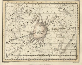 Star map, Constellation print, Zodiac prints, Constellation of the Cancer, 76