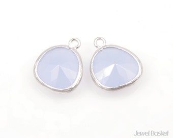 MARKDOWN - Alice Blue Color and Matted Silver Framed Glass Pendant - 2pcs Alice Blue color Pendant / 13x16mm / SABMS001-P